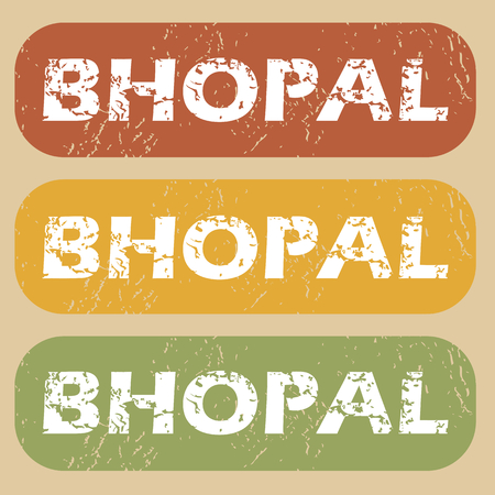 bhopal: Set of rubber stamps with city name Bhopal on colored background