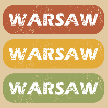 warsaw: Set of rubber stamps with city name Warsaw on colored background