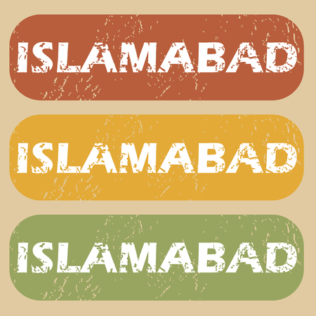 islamabad: Set of rubber stamps with city name Islamabad on colored background
