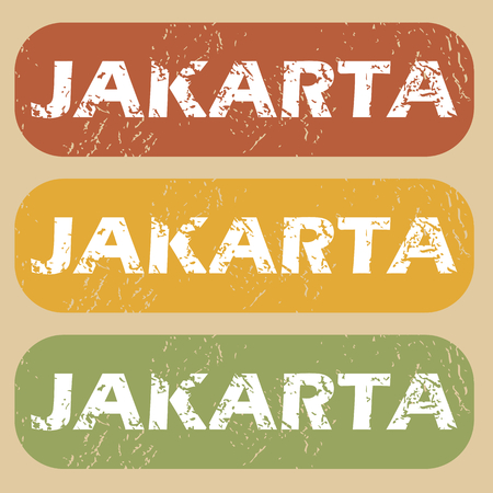jakarta: Set of rubber stamps with city name Jakarta on colored background Illustration
