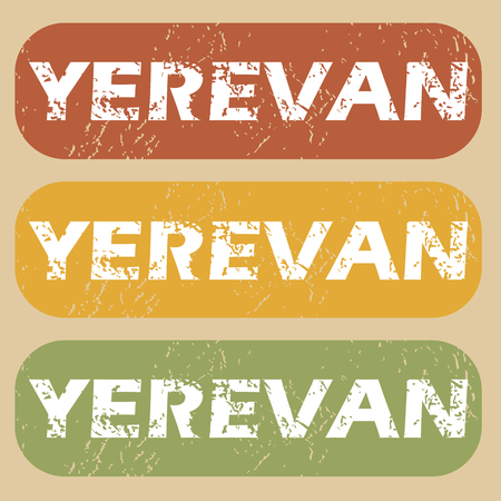 yerevan: Set of rubber stamps with city name Yerevan on colored background Illustration