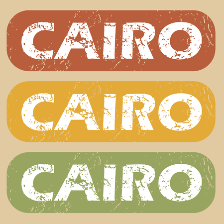 cairo: Set of rubber stamps with city name Cairo on colored background