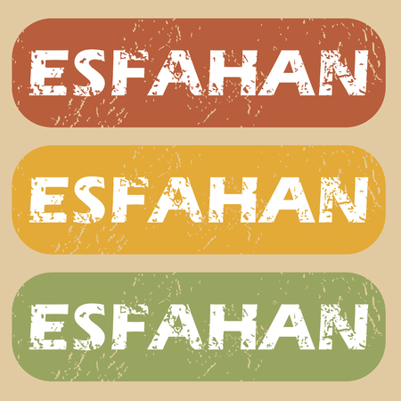 esfahan: Set of rubber stamps with city name Esfahan on colored background