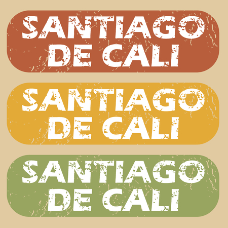 santiago: Set of rubber stamps with city name Santiago De Cali on colored background