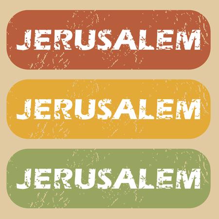 jeruzalem: Set van stempels met naam van de stad Jeruzalem op gekleurde achtergrond