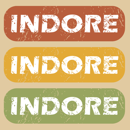 indore: Set of rubber stamps with city name Indore on colored background Illustration