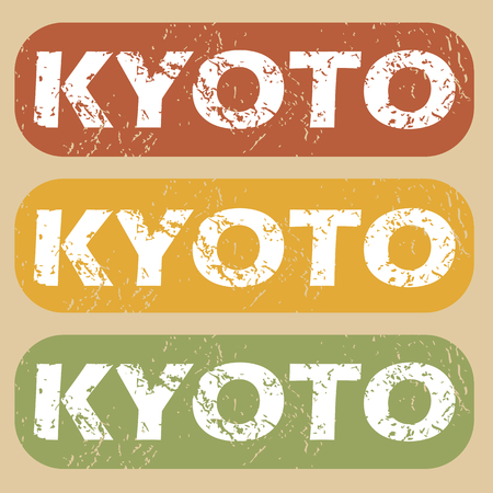 kyoto: Set of rubber stamps with city name Kyoto on colored background