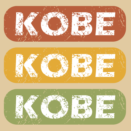 kobe: Set of rubber stamps with city name Kobe on colored background Illustration