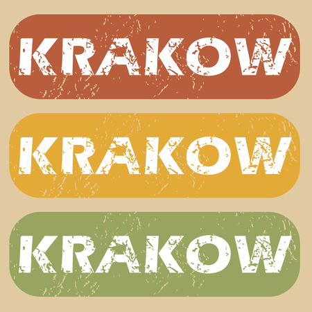 krakow: Set of rubber stamps with city name Krakow on colored background Illustration