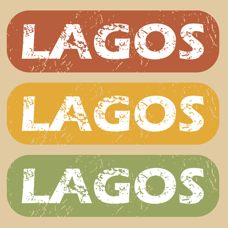lagos: Set of rubber stamps with city name Lagos on colored background Illustration
