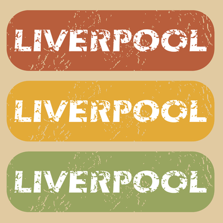 liverpool: Set of rubber stamps with city name Liverpool on colored background