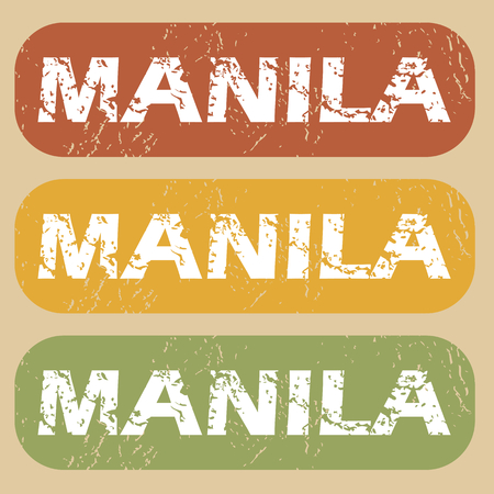 manila: Set of rubber stamps with city name Manila on colored background Illustration