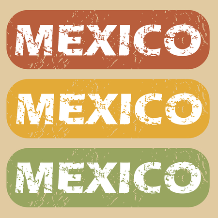 mexico city: Set of rubber stamps with city name Mexico on colored background Illustration