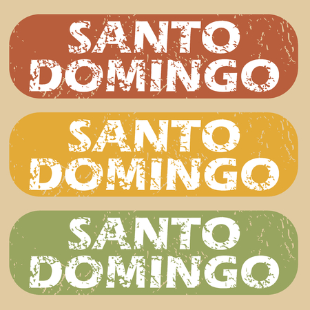 domingo: Set of rubber stamps with city name Santo Domingo on colored background Illustration