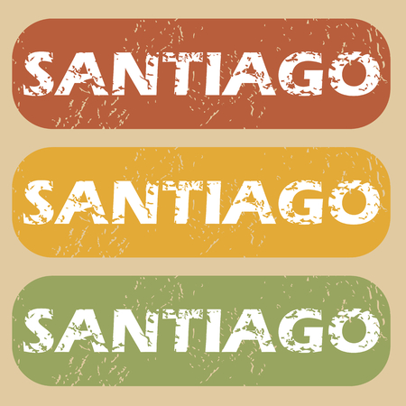 santiago: Set of rubber stamps with city name Santiago on colored background Illustration