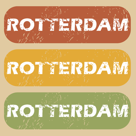 rotterdam: Set of rubber stamps with city name Rotterdam on colored background