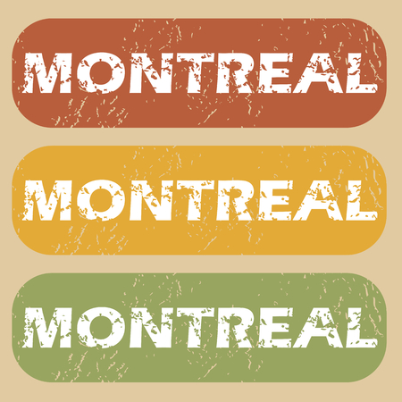 montreal: Set of rubber stamps with city name Montreal on colored background