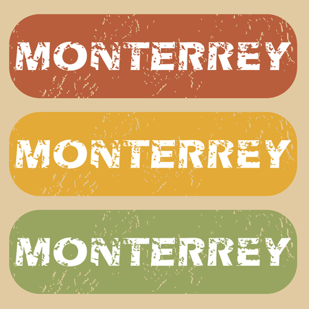 monterrey: Set of rubber stamps with city name Monterrey on colored background