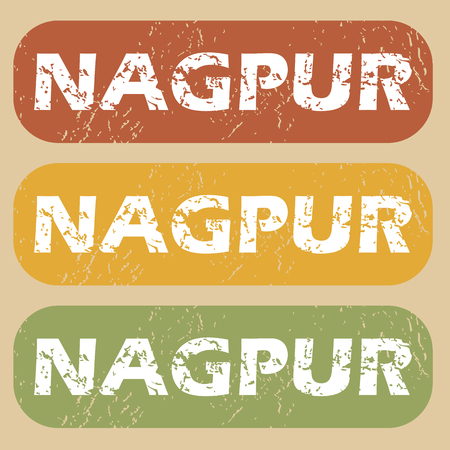 nagpur: Set of rubber stamps with city name Nagpur on colored background Illustration