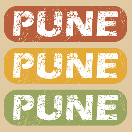 pune: Set of rubber stamps with city name Pune on colored background Illustration