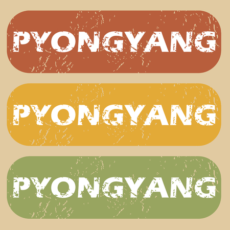 pyongyang: Set of rubber stamps with city name Pyongyang on colored background