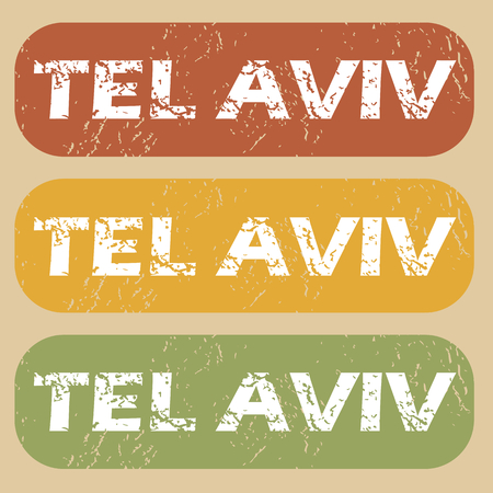 tel: Set of rubber stamps with city name Tel Aviv on colored background Illustration