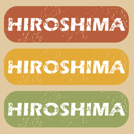 hiroshima: Set of rubber stamps with city name Hiroshima on colored background