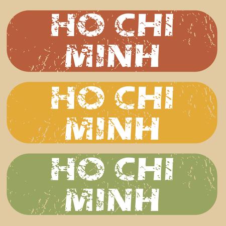 chi: Conjunto de sellos de goma con el nombre de la ciudad de Ho Chi Minh en el fondo de color