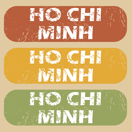 chi: Set of rubber stamps with city name Ho Chi Minh on colored background