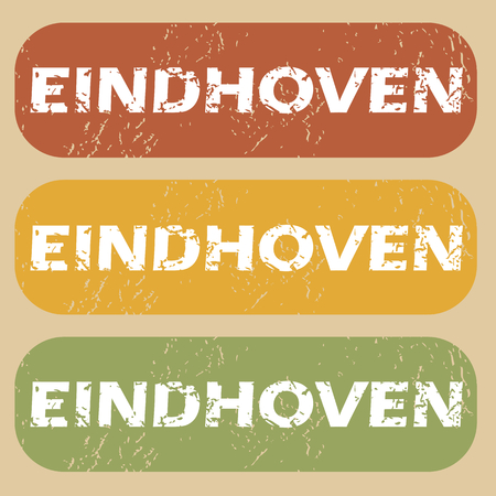 eindhoven: Set of rubber stamps with city name Eindhoven on colored background