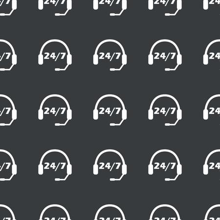 黒で繰り返されるテキスト 24 7 あたりにヘッドセットを白のイメージ