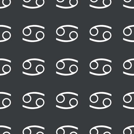 cancer zodiac: White image of Cancer zodiac symbol repeated on black background