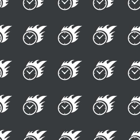 bounds: White image of burning clock repeated on black background Illustration