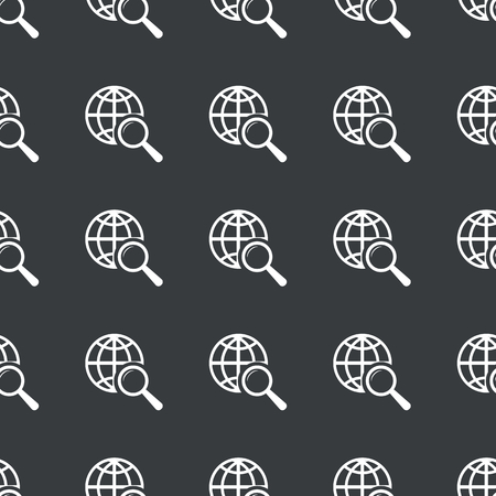 repeated: White image of globe under loupe repeated on black background Illustration