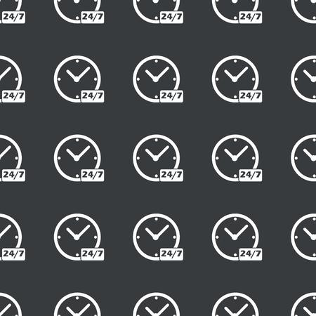 overnight: Immagine in bianco dell'orologio e del testo 24 per 7 ripetuta su nero