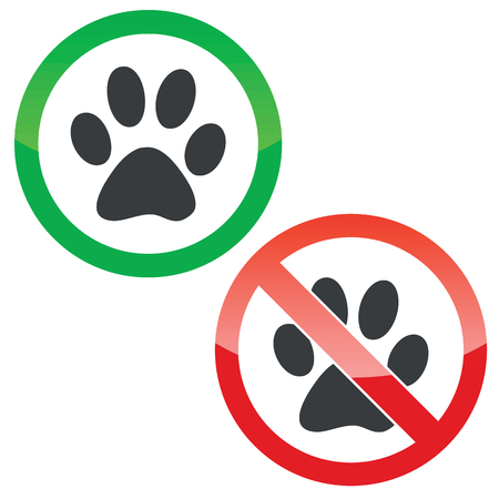 track pad: Allowed and forbidden signs with paw print, isolated on white