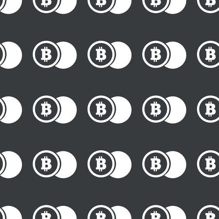 repeated: White image of coin with bitcoin symbol repeated on black