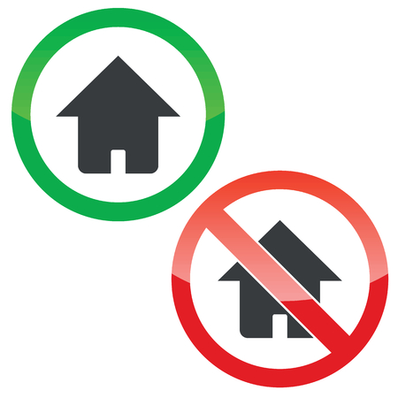 estate planning: Allowed and forbidden signs with house image, isolated on white Illustration