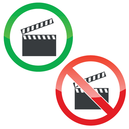 cinematograph: Allowed and forbidden signs with clapperboard image, isolated on white