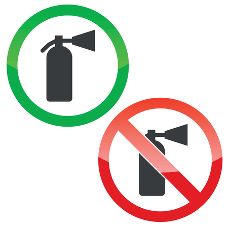 conflagration: Allowed and forbidden signs with fire extinguisher image, isolated on white