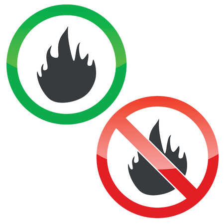 Allowed and forbidden signs with flame image, isolated on white Illustration