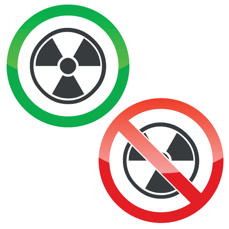 hazard symbol: Allowed and forbidden signs with radio hazard symbol, isolated on white