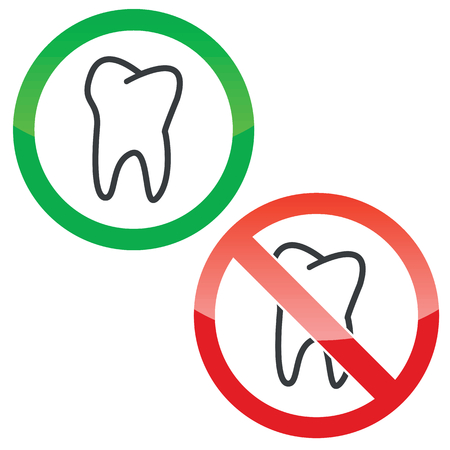 dens: Allowed and forbidden signs with tooth image, isolated on white