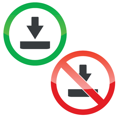 allowed: Allowed and forbidden signs with download symbol, isolated on white