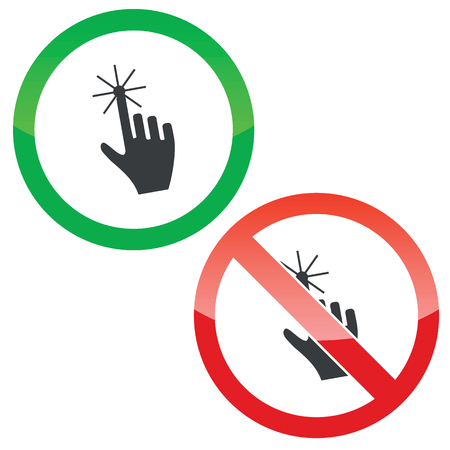 allowed: Allowed and forbidden signs with hand image, isolated on white