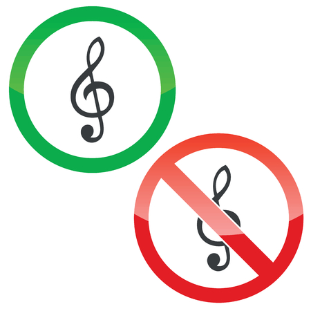 allowed: Allowed and forbidden signs with treble clef, isolated on white