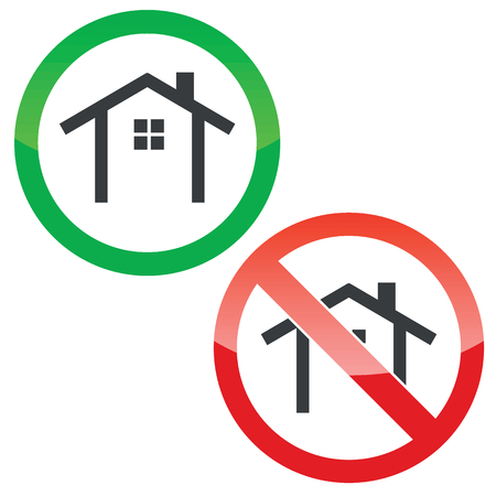 Allowed and forbidden signs with house contour, isolated on white
