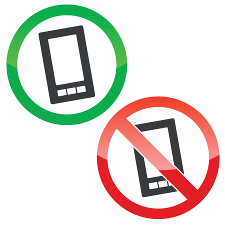 allowed: Allowed and forbidden signs with smartphone image, isolated on white Illustration