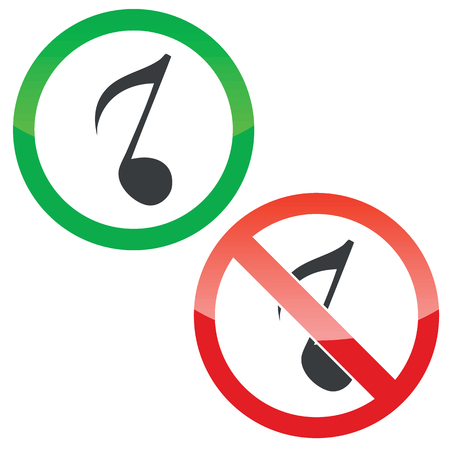 eighth note: Allowed and forbidden signs with eighth note image, isolated on white