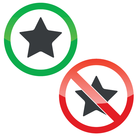 Allowed and forbidden signs with star image, isolated on white